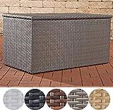 CLP Coffre boîte de rangement en polyrotin, ultra-élégant pour coussins et supports, coffre banc M = 235 litres, gris
