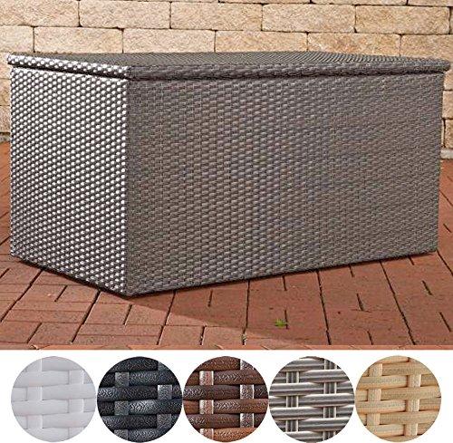 CLP Polyrattan-Aufbewahrungsbox I Gartentruhe für Kissen und Auflagen I In verschiedenen Farben und Größen erhältlich L = 438 Liter, Grau