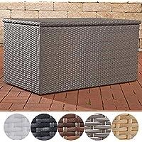 CLP Polyrattan-Aufbewahrungsbox | Gartentruhe für Kissen und Auflagen | In verschiedenen Farben und Größen erhältlich XL = 740 Liter, Grau