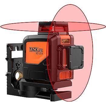 Tacklife SC-L04 Professionnel Niveau Laser Croix 30 m à 360°/ Auto-nivellement/Laser Rouge Horizontal et Verticale/2 Modes d'Impulsion, Intérieur et Extérieur/Verrouillable/Support Pivotant Magnétique