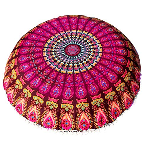 Aiserkly - Cuscino Rotondo con Mandala Indiano Etnico, Stile Bohémien, 43 x 43 cm, Poliestere, Multicolor-b, 43 * 43cm/(17.0 * 17.0')