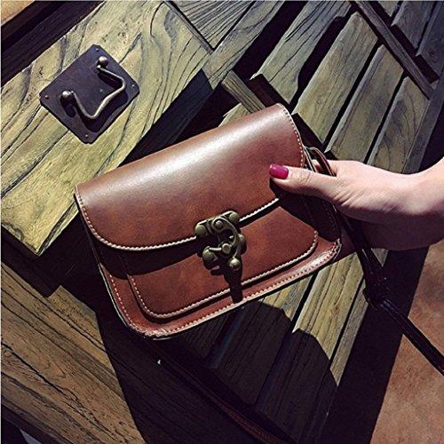 Kangrunmy Lnserire Blocco Borse Moda Tracolla sacchetto di svago Caffè
