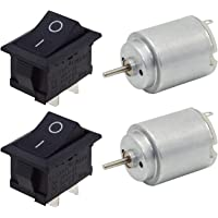 PGSA2Z 6 Volts - 9 Volts DC Motor with Control Switch for School Projects & Science Learning Projects (Pack of 2)