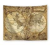 Tapisserie Murales, Carte du Monde Vintage Jaune Bohème Hippie Indien Psychédélique Tissu Imprimé Gothique Moderne,Art...