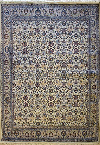 RugsTC 239 x 305 Pak Persian Area Rug with Wool Pile - Mahal Design Hand-Knotted in White,Grey,Greenish Blue Colors | a 244 x 305 Rectangular Double Knot Rug -