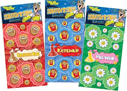 N Sniff Stickers 3-Pack- Flower Power, Ketchup, Cinamon Roll 81 Stickers ()