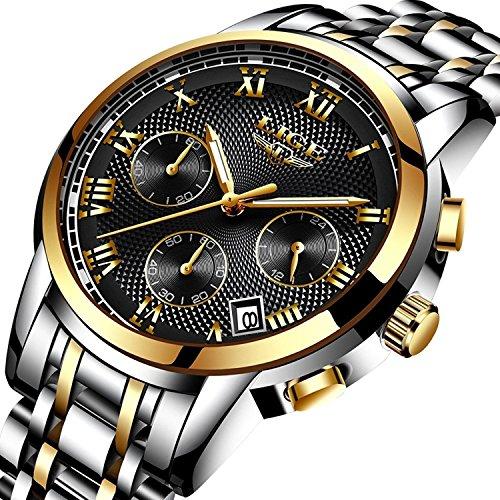 Uhren Herren Luxus Wasserdicht Sportuhr Quarzuhr Herren Edelstahl Mode Business Armbanduhr Männer Herren Gold Schwarz Uhr