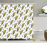 Décoration vintage Collection rétro Flash Electric icônes avec des lignes à carreaux Funky météo Batman Boom Pop Art Comic Tissu Polyester salle de bain Rideau de douche Blanc Jaune, polyester & polyester mélangé, blanc/jaune, 108'Width By 72'Height