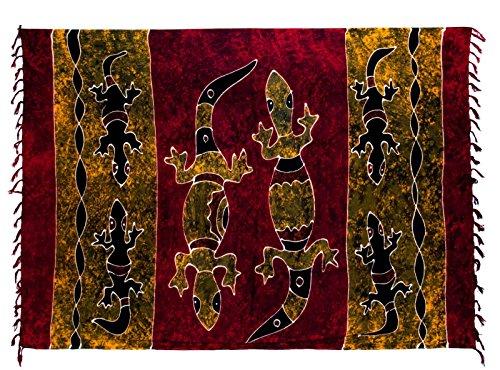 Riesen Auswahl - Sarong Pareo Wickelrock Strandtuch Tuch Wickeltuch Handtuch - Blickdicht - Handbemalt inkl. Schnalle in Rauteform Gecko Rot Gold Batik
