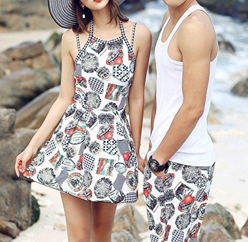 ff56910b4 HOMEE Trajes de baño para Parejas Siamés Boxers para Mujer Vestido de baño  de una Pieza Vestido Beach SPA Vacaciones para Pareja
