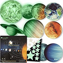 LIDERSTAR Glow in the dark Stars and Planets ,9 Glowing wall stickers ,Solar System :SUN, EARTH ,MARCH.... Ceiling Decals to Light Up your Kid's Bedroom . Space Room Decoration