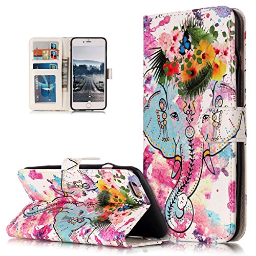 Custodia iPhone 6S Plus, iPhone 6 Plus Cover, ikasus® iPhone 6S Plus/iPhone 6 Plus Custodia Cover [PU Leather] [Shock-Absorption] Fiore Farfalla Lupo Gufo Dreamcatcher Modello Colorato verniciato Goff Elefante colorato