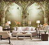Weaeo 3D Wallpaper Benutzerdefinierte Mural Vlies Wandaufkleber 3D Milu Deer Wald Einstellung Wand Dekoration Tapete Für Wände 3D-280X200Cm