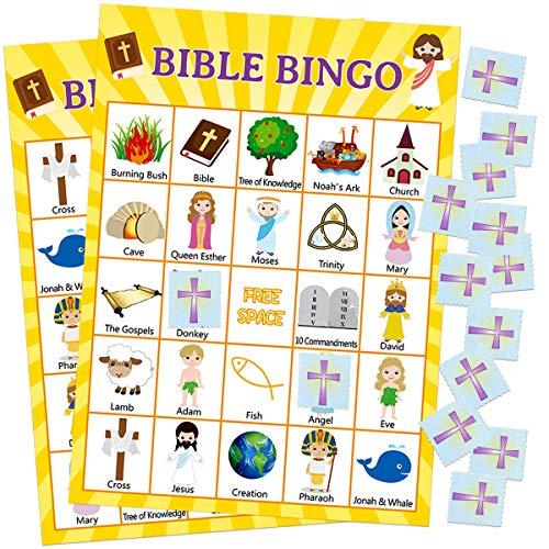 Fancy Land Bible Bingo-Spiel für den Urlaub Bible School 24 Spieler für Kinder Christian Sunday Church