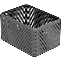Rotho Madei Panier de rangement 13l, Plastique (PP) sans BPA, anthracite, 13l (32,6 x 23,8 x 18,8 cm)