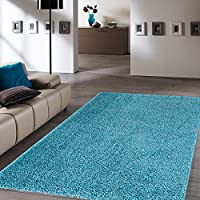 Ottomanson Soft Cozy Color Solid Shag Area Rug Contemporary Living and Bedroom Soft Shag Area Rug, Turquoise Blue, 3'3 L X 4'7 W