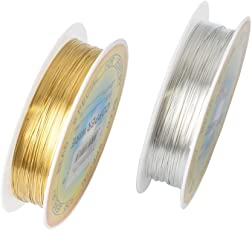 iDream 0.3mm Metal Copper Wire for Jewellery Making, Golden & Silver (Pack of 2)