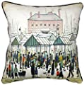 "The Lowry Collection ""Market Scene, Northern Town"" Black Cream Red Blue Velvet 18"" 45cm Filled Cushion Made In The UK - cheap UK light shop."