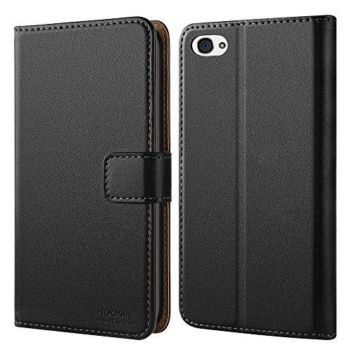 iPhone 4 Hülle, iPhone 4S Hülle, HOOMIL Handyhülle iPhone 4 Tasche Leder Flip Case Brieftasche Etui Schutzhülle für Apple iPhone 4 / 4S Cover - Schwarz (H3053)