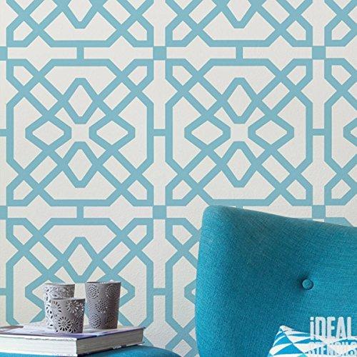 marokkanische Fliese Muster Schablone Heim Wand Dekor Kunst & Basteln Schablone Farbe Wände Stoffe & Möbel 190 Mylar wiederverwendbar Schablone - halb geschliffen Durchsichtig Schablone, S/ 17x17cm