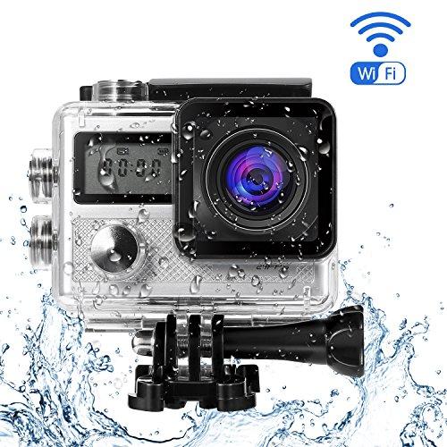 Galleria fotografica LESHP Action Cam Doppio Schermo Full HD 4K WIFI Sport Camera con Custodia Impermeabile 20 MP 170° Grandangolare 2.0 Pollici 900mAh Batterie e Kit Accessori per Ciclismo Nuoto e altri Sport Esterni, Argento