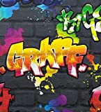 Rasch Graffiti Wallpaper - Black 237801 by Rasch