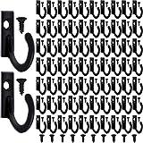 100 Pezzi Montaggio a Parete Singolo Gancio Appendiabiti Ganci Cappotto Ganci e 110 Pezzi Viti per Appendere Chiave Ganci Gioielli (Nero)