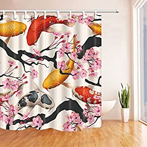 Classic asian decor shower curtains by kotom koi golden for Koi fish bathroom decorations