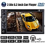 2 Din Car Stereo with Bluetooth DVD Player Radio Receiver FM AM Steer Wheel Control Aux-in USB SD MP3 6.2 Inch In-Dash HD Touch Screen UK Ship