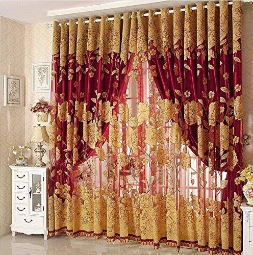 Ruikey Transparent Gardinen Violett Vorhang Fenster Blatt Muster für Wohnzimmer Schlafzimmer Blume Fenster Voilevorhang Tüll Vorhang
