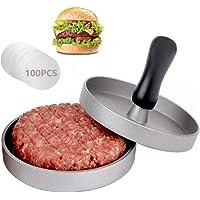 AMAYGA Pressa per Hamburger Pressa Stampa in Alluminio   100 Carta Antiaderente  Perfetto per Hamburger Cheeseburger Fricadelle  Polpete Padella Barbecue Antiaderente