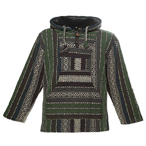 KUNST UND MAGIE Nepal Baja Jerga Sweatshirt Poncho mit Fleecefutter Kapuze, Größe:S, Farbe:Army Green Baja Poncho