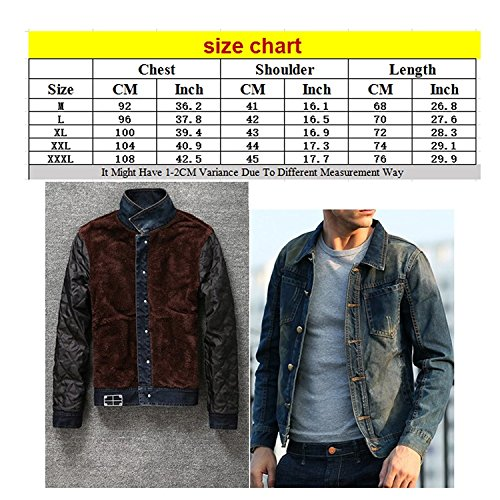 Zhuhaitf Fashion Winter Mens Plus Thick Velvet Warm Denim Jackets Tops Coats Dark Blue
