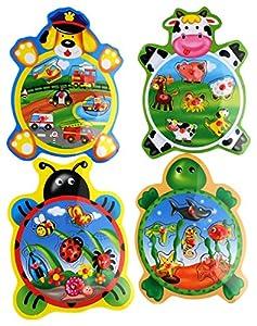 Globo Juguetes Globo-3768522x 29,5x 0,8cm, 4Surtidos Legnoland Madera Puzzle de los Animales con Botones (Juego de 6)