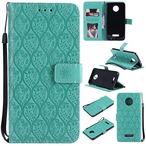 Guran PU Leder Tasche Etui für Motorola MOTO Z Force Smartphone Flip Cover Stand Hülle und Karte Slot Rattan Case - Grün