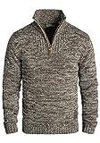 !Solid Philostrate Herren Strickpullover Troyer Grobstrick Pullover Aus 100% Baumwolle Mit Reißverschluss, Größe:M, Farbe:Coffee Bean (5973)