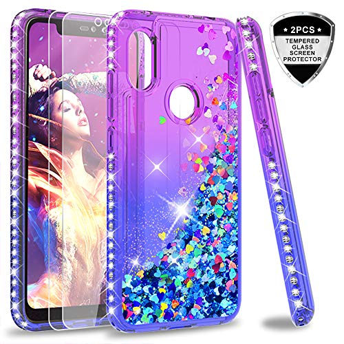 LeYi Hülle Xiaomi Redmi Note 6 Pro Glitzer Handyhülle mit Panzerglas Schutzfolie(2 Stück),Cover Diamond Bumper Schutzhülle für Case Xiaomi Redmi Note 6 Pro Handy Hüllen ZX Gradient Purple Blue