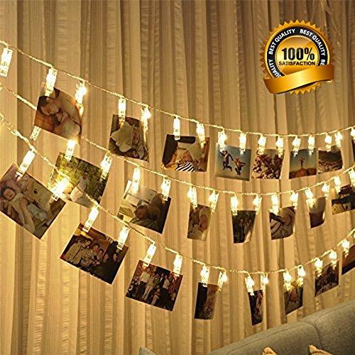 LED Foto Clips Lichterketten, 40 Photo Clips 4M Batteriebetriebene Stimmungsbeleuchtung Dekoration für Hängendes Foto Memos Kunstwerke, Led lichterkette für Garten, Terrasse, Hof, Haus (Halloween-dekorationen Hof)