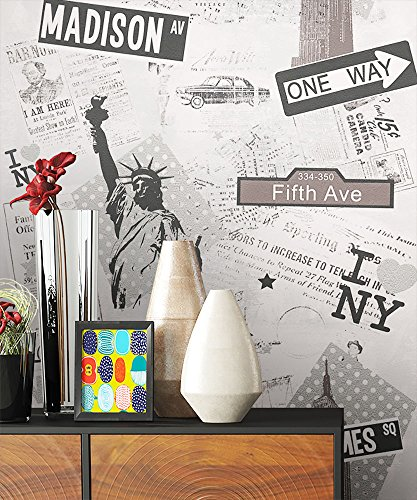 NEWROOM Tapete Grau Schrift Städte Modern Papiertapete Metallic Papier moderne Design Optik Tapete Jung inkl. Tapezier Ratgeber - Papier Städte