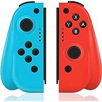 TUTUO Manette Switch Pro sans Fil Compatible avec Nintendo Switch, Remplacement JOYCON Contrôleur pour Wireless Bluetooth Controller Joystick pour Nintendo Switch - Rouge (R) et Bleu (L)