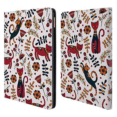 Head Case Designs Offizielle Julia Badeeva Katze Tiermuster 3 Brieftasche Handyhülle aus Leder für iPad Air 2 (2014)