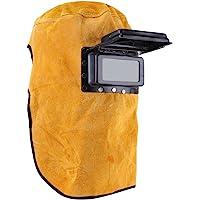 Casque de soudeur en cuir durable de bonne qualité, résistant à la chaleur, masque de protection respirant avec verre de sécurité