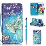 Handytasche für Samsung Galaxy S5 Hülle, ZCRO PU Leder Schutzhülle Brieftasche Magnet Etui Flip Case 3D Bunt Muster Wallet Handyhülle mit Kartenfach Trageschlaufe und Stift für Samsung Galaxy S5 (Gold Schmetterling)