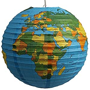 Lampion papier lanterne globe terrestre suspension for Globe luminaire interieur