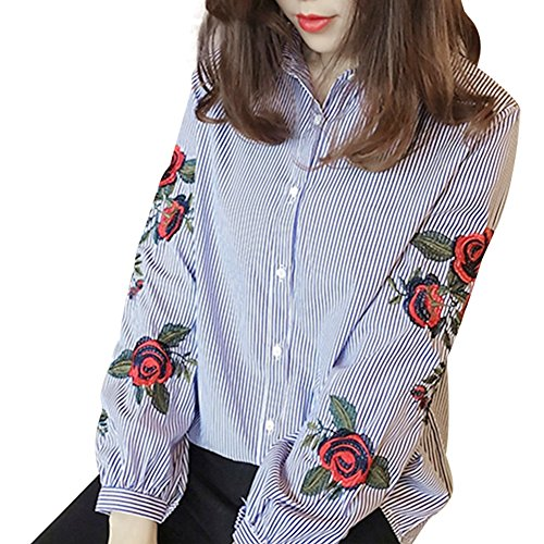 Frauen Hemd Elegant Blouse - hibote Damen Vintage V-Kragen Pullover Beiläufige Stickerei Langarm Oberteile Blouse Tops T-Shirts
