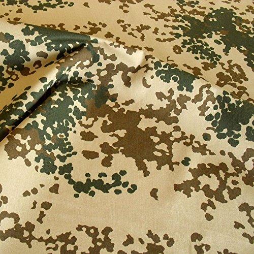 Popeline Uniform (Bundeswehr Camouflage-Stoff Meterware - robuster Baumwollstoff im 3 Farben Wüsten Tarndruck)
