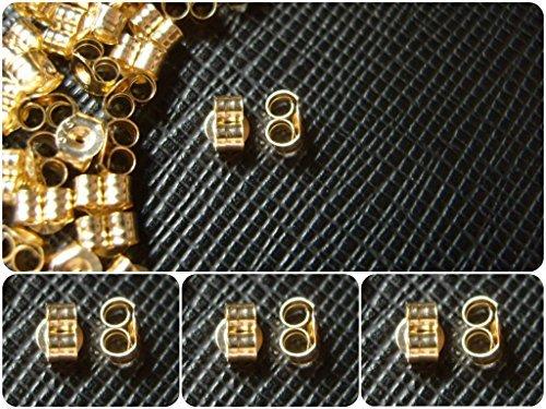 3 Paires 6 petits fermoirs de rechange pour boucles d'oreille en or 9 carats Papillons et volutes Push Fit .375 (4 x 3 mm