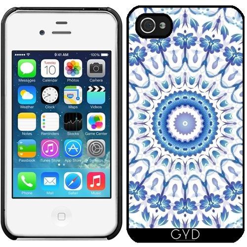 Leder Flip Case Tasche Hülle für Apple iPhone 5/5S - Blau Weiße Blumen-Mandala by Nina Baydur Starre Kunststoff