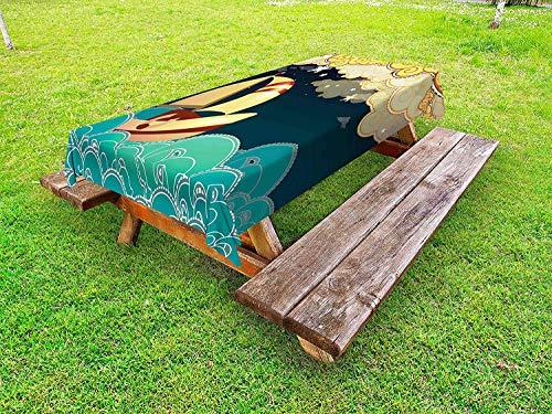 LIS HOME Schiffs-Tischdecke im Freien, Kindermärchen-Fantasie-Illustrations-Nachtzeit-Segelschiff auf gelockten Wellen, dekorative waschbare Picknicktischdecke, Mehrfarbig -