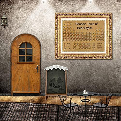 Periodensystem Von Bier Retro Kraftpapier Poster Vintage Wandaufkleber Wohnzimmer Poster Bar Cafe 42x30 cm